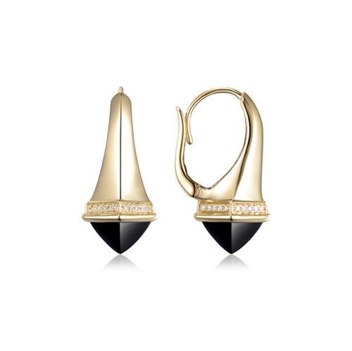 stunning 14 karat yellow gold black onyx and diamond earrings with lever backs