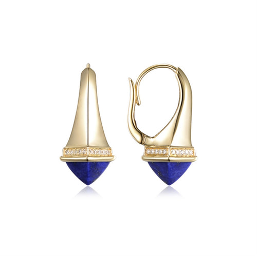 14 karat yellow gold blue lapis and diamond leverback earrings