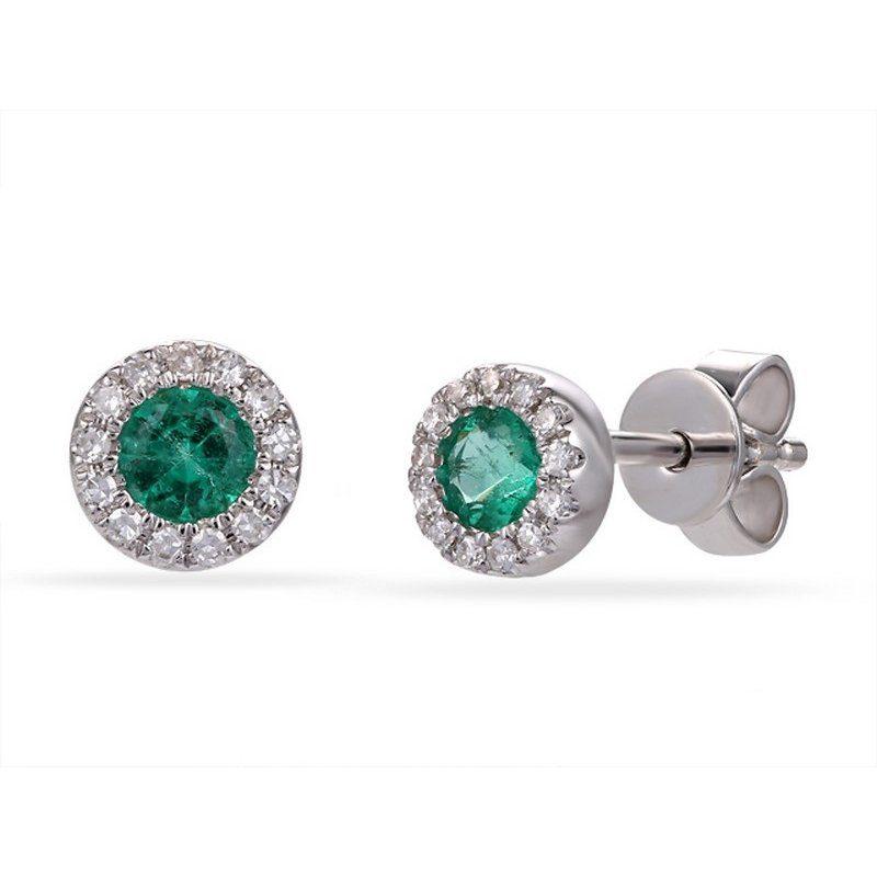14 karat white gold emerald stud earrings with a diamond halo