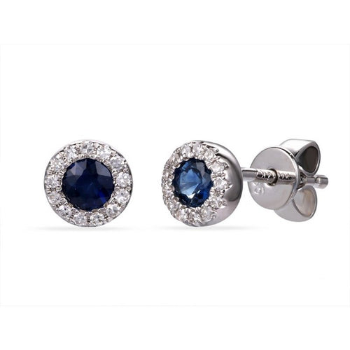 14 karat white gold sapphire stud earrings with a diamond halo