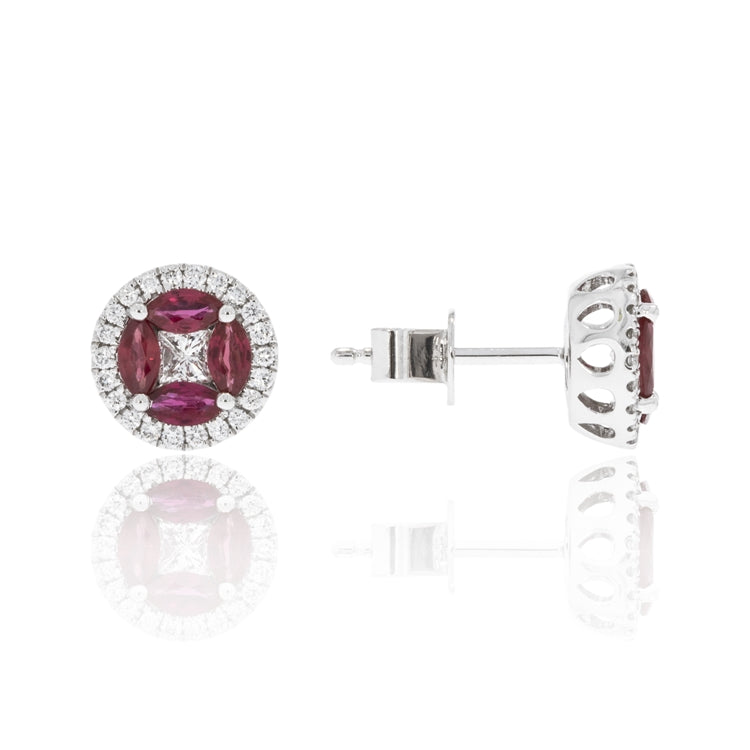 14 karat white gold .80ctw ruby and .43ctw diamond stud earrings
