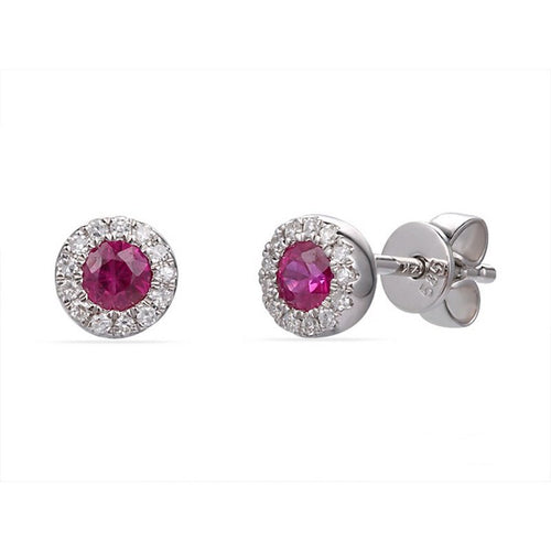 14 karat white gold .32ctw ruby stud earrings with a diamond halo
