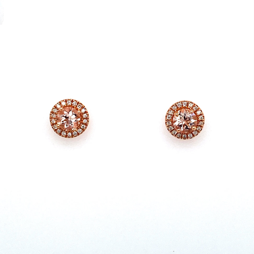 These Beautiful Round Morganite Gemstone Earrings Featuring a Light Pink Color Pair Gorgeously with the 14 Karat Rose Gold Setting, with a Pretty Diamond Halo Around it. The Earrings are Secured with Posts and Push on Backs.