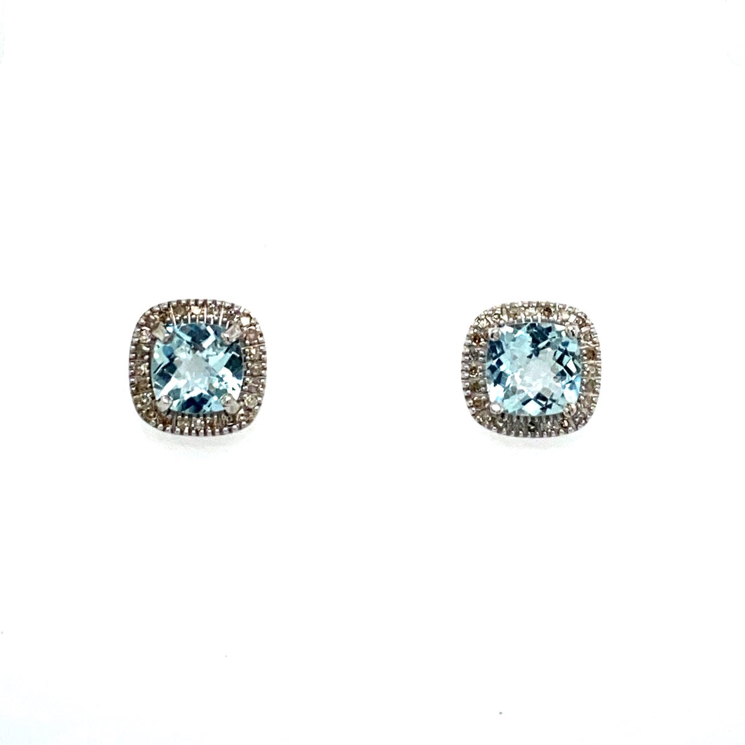 This Pair of Earrings with Posts and Push-on Backs Feature a Cushion-Cut Aquamarine Gemstone Embellished with a Diamond Halo around it. Gemstone Total Carat Weight 2.08 Carats  Total Diamond Weight .22 Carat