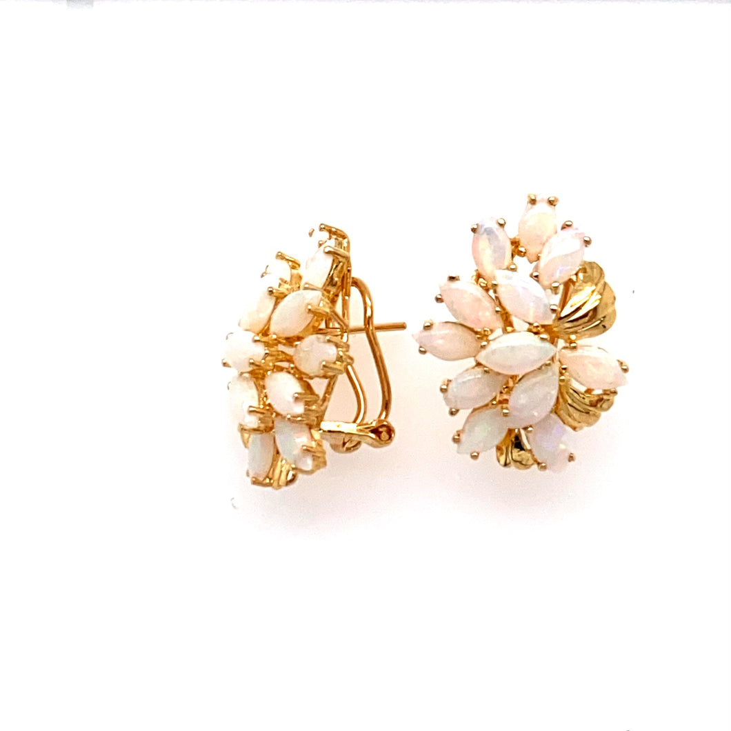 This Pair of 14 Karat Yellow Gold Estate Earrings Features 12 Marquis Shaped Opals Beautifully set into Each Earring.  The Earrings are Secured with Omega Backs.  Total Weight 6.4 Grams