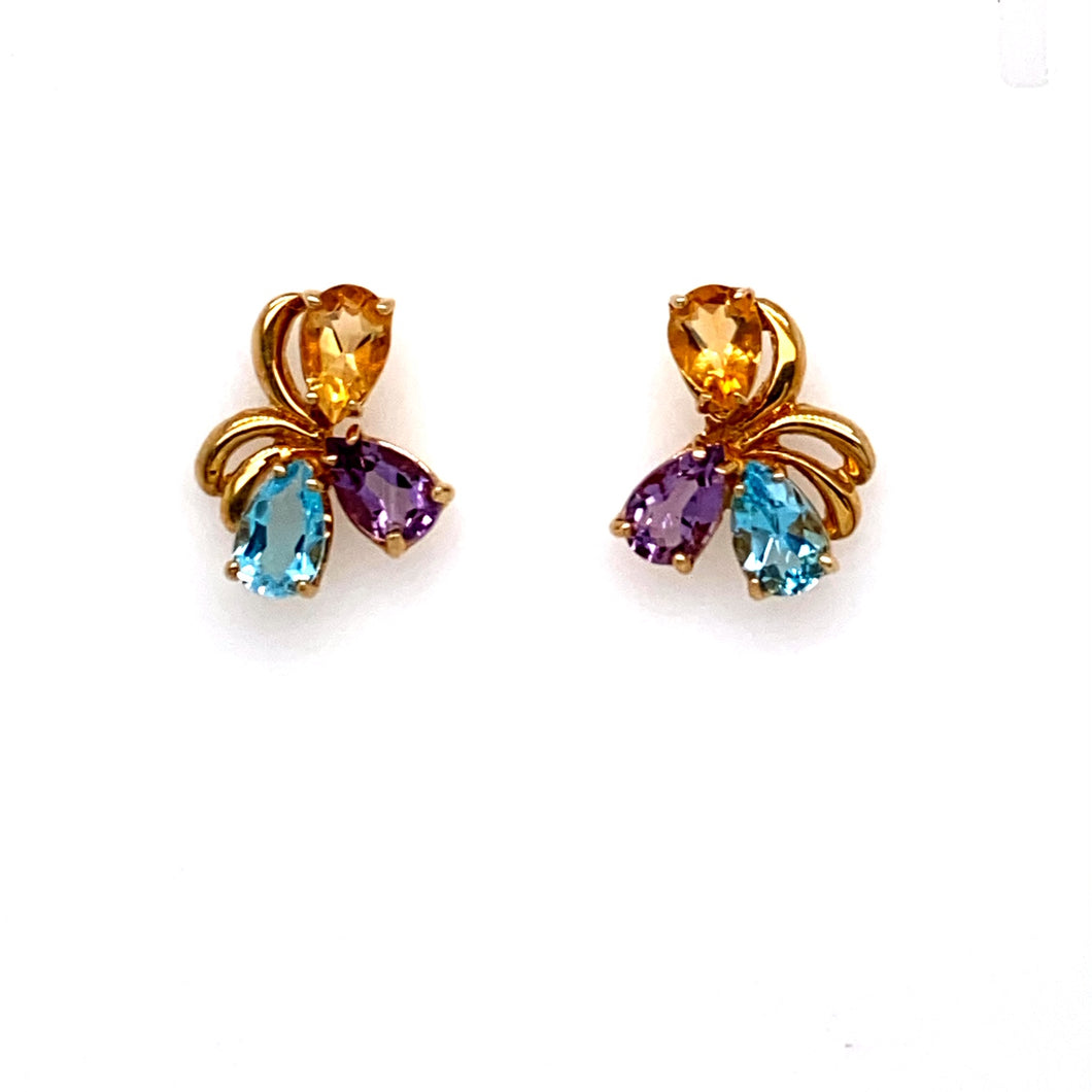 This Pretty Pair of 14 Karat Yellow Gold Estate Earrings Feature a Pear Shaped Blue Topaz, Amethyst, and Citrine, for a Pop of Color.  The Earrings are Secured with Posts and Backs  Total Weight 5.3 Grams