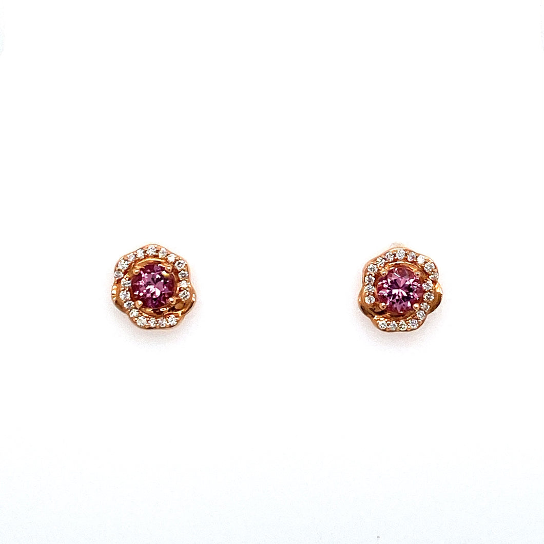These Beautiful 14 Karat Rose Gold Earring Settings Feature a Round Lotus Garnet Gemstone with Diamonds set Around it. The Earrings are secured with Posts and Push on Backs.  Total Gemstone Weight .86 Carat  Total Diamond Weight .16 Carat