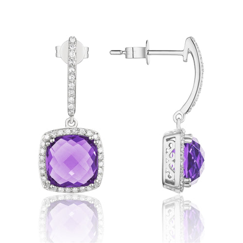 14 Karat white Gold amethyst dangle earrings with a diamond halo