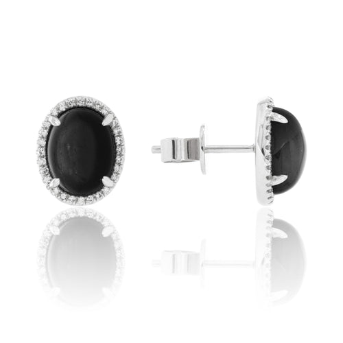 14 karat white gold 4.22ctw labradorite stud earrings with .13dtw diamond halo