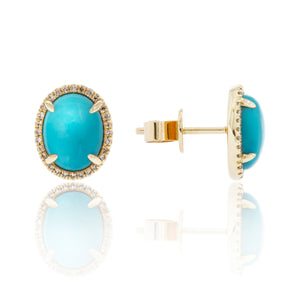 A Favorite Combo - 14 Karat Yellow Gold Oval 4.01ctw Turquoise Stud Earrings with .13ctw Diamond Halo
