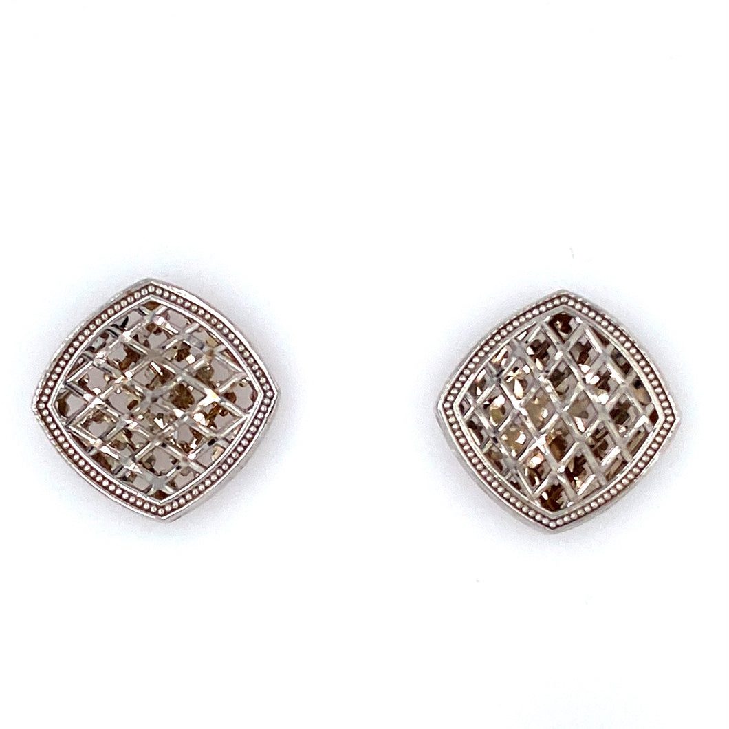 These Cute Earrings Are Beautifully Designed in 14 Karat White Gold and are Secured with Posts and Backs.