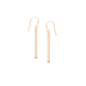 14 karat rose gold bar drop dangle earrings