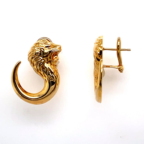 If you are a Sea Lion Lover, this Pair of Estate Earrings are for you. With a Sea Lion Shape these High Polished 14 Karat Earrings are Secured with Omega Backs.