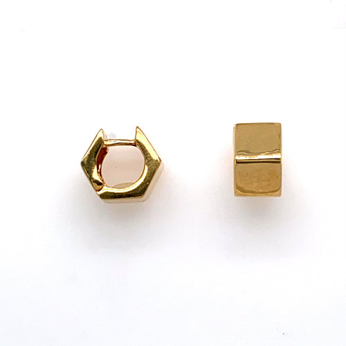 This Pair of High Polished 14 Karat Yellow Gold Estate Huggie Style Earrings Feature a Hexagon Shape. The Earrings are Secured with Click in Posts.  Total Weight 7.0 Grams