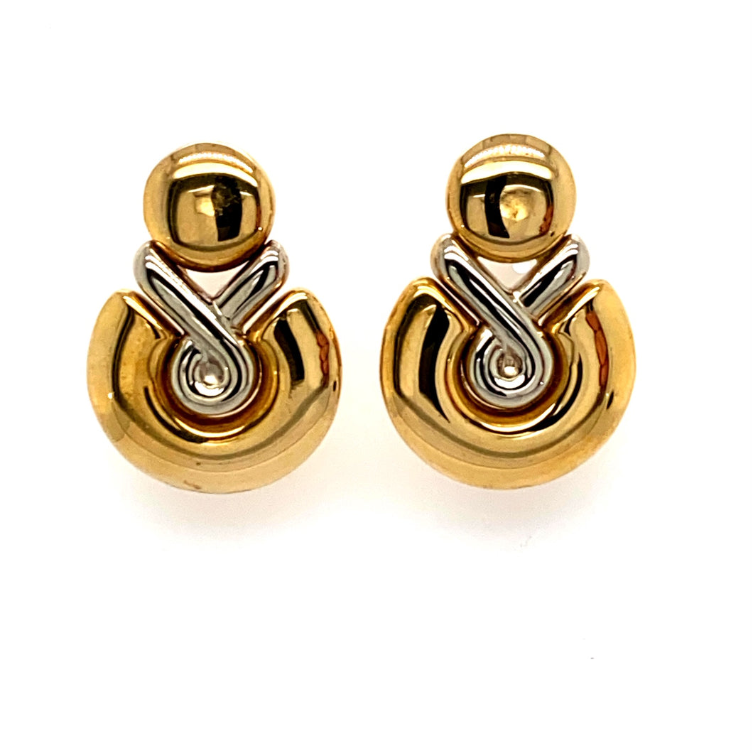 These Beautiful 18 Karat White Gold And Yellow Gold Omega Back Earrings from our Estate Collection have a Total Weight of 13.1 Grams