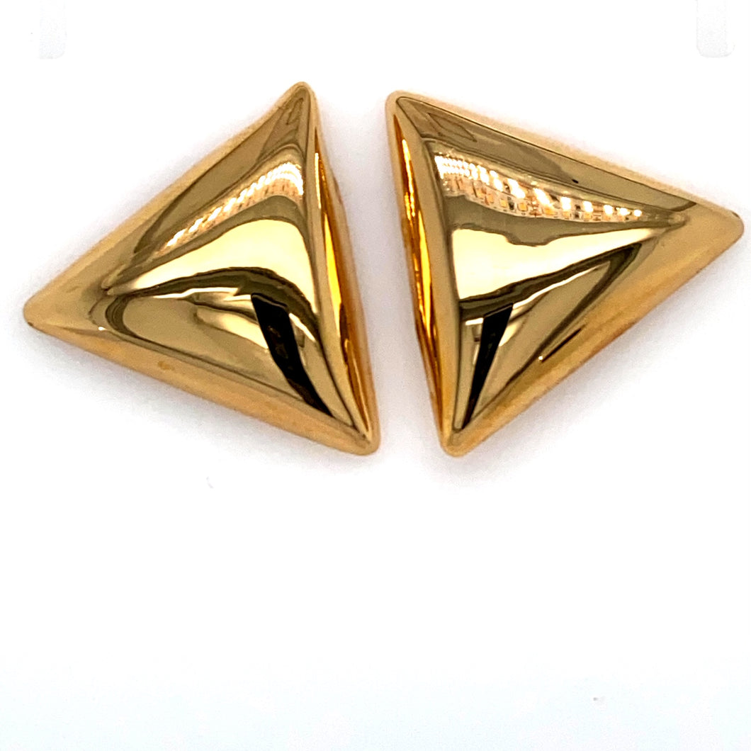 Make A Bold Statement with these Large Triangle Shaped Stud Earrings from our Estate Collection, Made with High Polished 18 Karat Yellow Gold. The Earrings are Secured with Posts and Push on Backs.  Total Weight 6.4 Grams