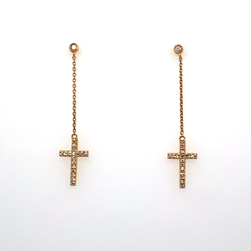 These Gorgeous Dangle Cross Earrings Feature a 14 Karat Yellow Gold Cross set with Sparkling Diamonds and a Link Chain at the Top of the Cross Leads up to a Post, Bezel set with a Sparkling White Round Diamond. The Earrings are Secured with Posts and Backs. The Earrings Measure Approximately 33.0mm From the Top to the Bottom.