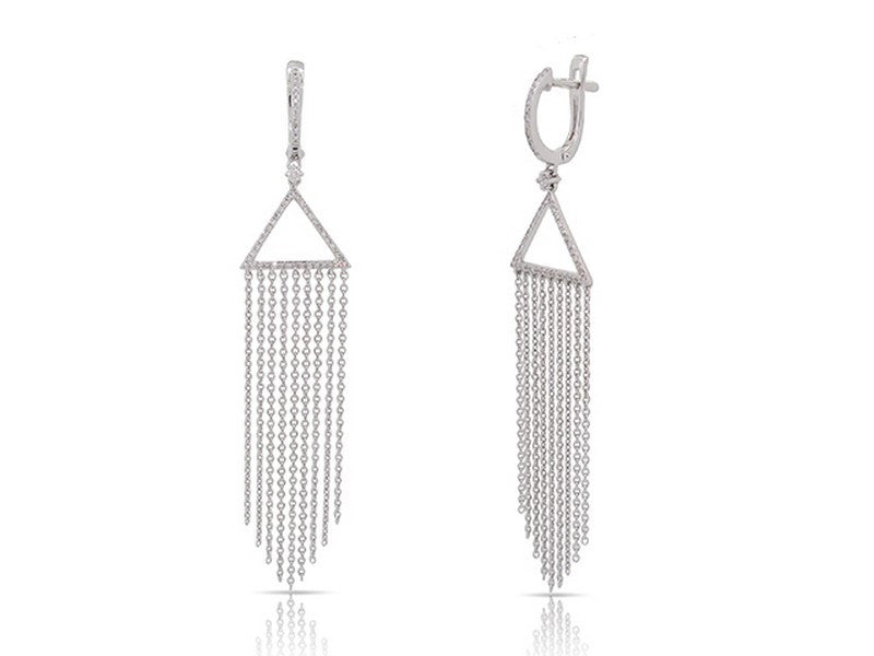 14 karat white gold chain drop diamond earrings