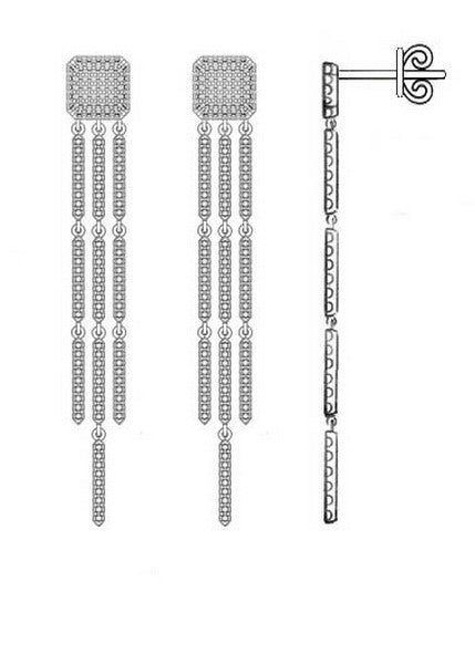 14 karat white gold .70 diamond carat weight dangle drop earrings