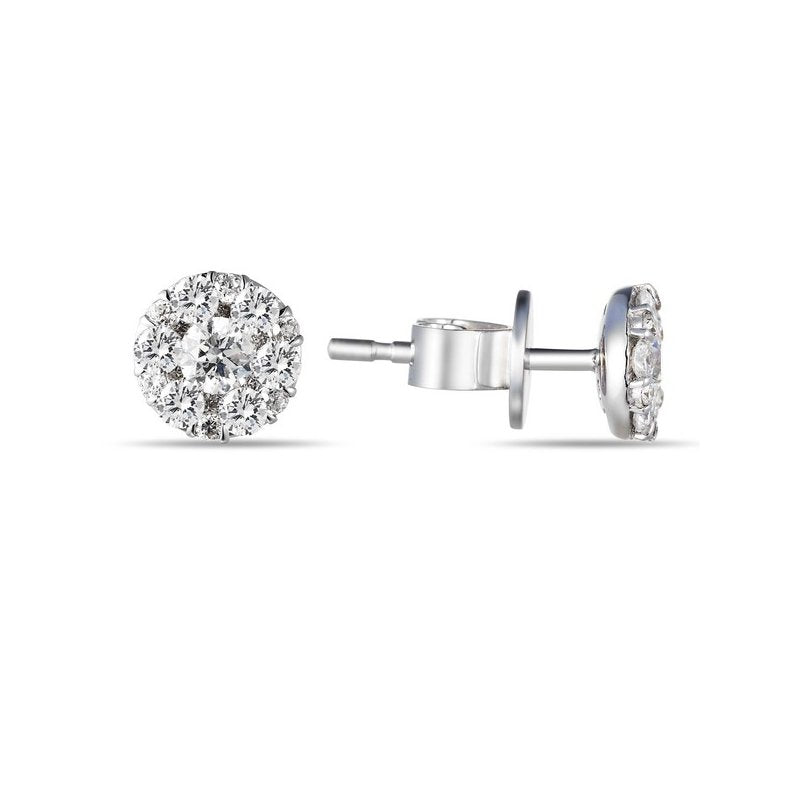 14 karat white gold .67 carat total weight diamond cluster stud earrings