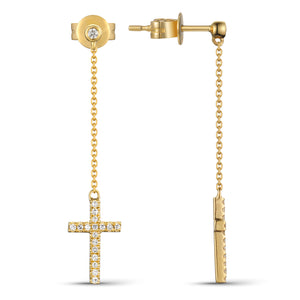 14 karat yellow gold cross diamond dangle earrings