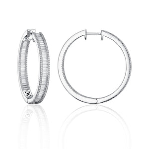 these exquisite 14 karat white gold inside outside hoop earrings feature 2.98 total carats of sparkly white baguette and round diamonds