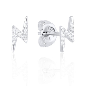14 karat white gold diamond lightning bolt stud earrings