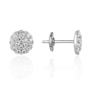14k white gold .94 carat total weight diamond cluster stud earrings