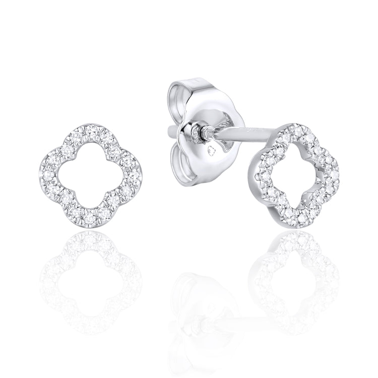 This Cute Pair of 14 Karat White Gold Open Space Earrings Designed by Luvente, Hold a Total of 32 Round Diamonds.  The Earrings are Secured with Posts and Push on Backs.  Total Weight .78 Grams  Total Diamond Weight .06 Carat   Matching ring is Available
