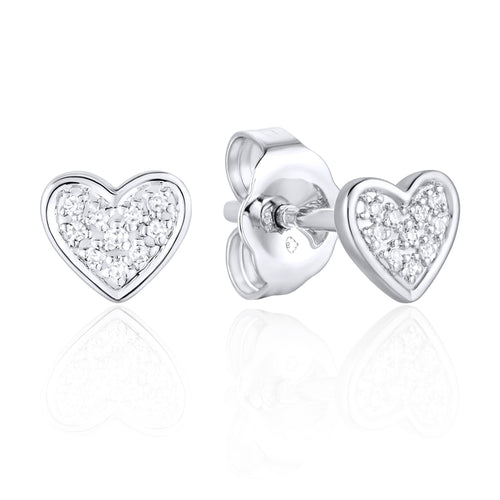 This Pretty Light Weight Pair of 14 Karat White Gold Earrings Designed by Luvente, Each Hold Ten Round Diamonds set in a Cluster Heart Shaped Setting.  the Earrings are Secured with Posts and Push on Backs.  Total Weight .78 Grams  Total Diamond Weight .04 Carat