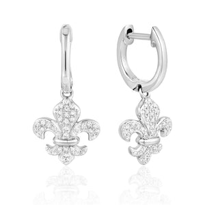 This Pretty Pair of 14 Karat White Gold Hoop Earrings Feature a Fleur De Lis Dangle Holding 39 Round Diamonds. The Earrings are Secured with Click in Posts.  Total Weight 2.37 Grams  Total Diamond Weight .14 Carat (78 Round Diamonds)