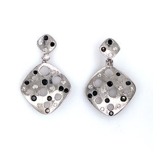 Here's a Fun Pair of Earrings to Wear. The 18 Karat White Gold Earrings Features a Curved Square Shape Setting with an Open Hole Design Featuring Black and White Round Diamonds Throughout.  Total Diamond Weight .48 Carat