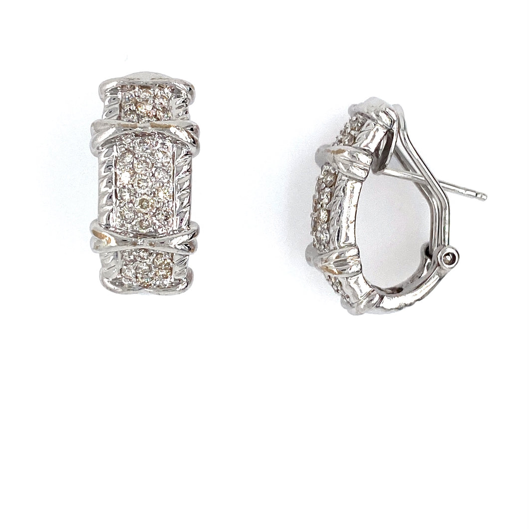 This Beautiful Pair of Estate 18 Karat White Gold Earrings Feature 54 SI-1 Diamonds and are Secured with Omega Backs.  Total Diamond Weight .75 Carat  Total Weight 13.6 Grams  All Weights are Approximate