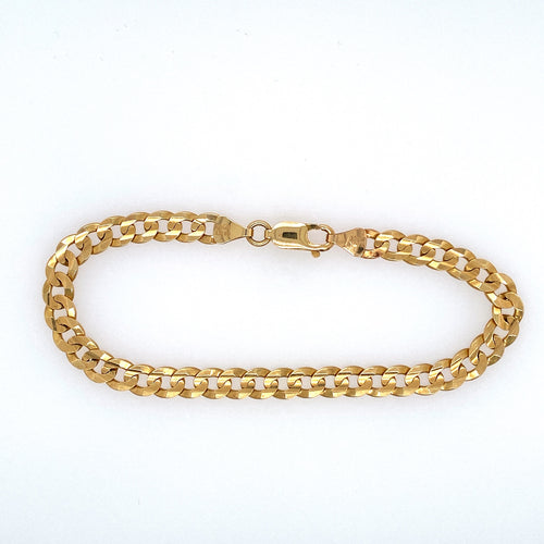 This Men's 14 Karat Yellow Gold Curb Bracelet is Secured with a Lobster Clasp  Width 5.9mm  Weight 10.4 Grams  Length 8
