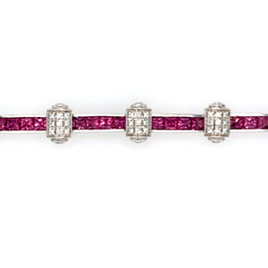 Estate - 18KW Charriol Flamme Blanche Pink Sapphire and Diamond Bracelet