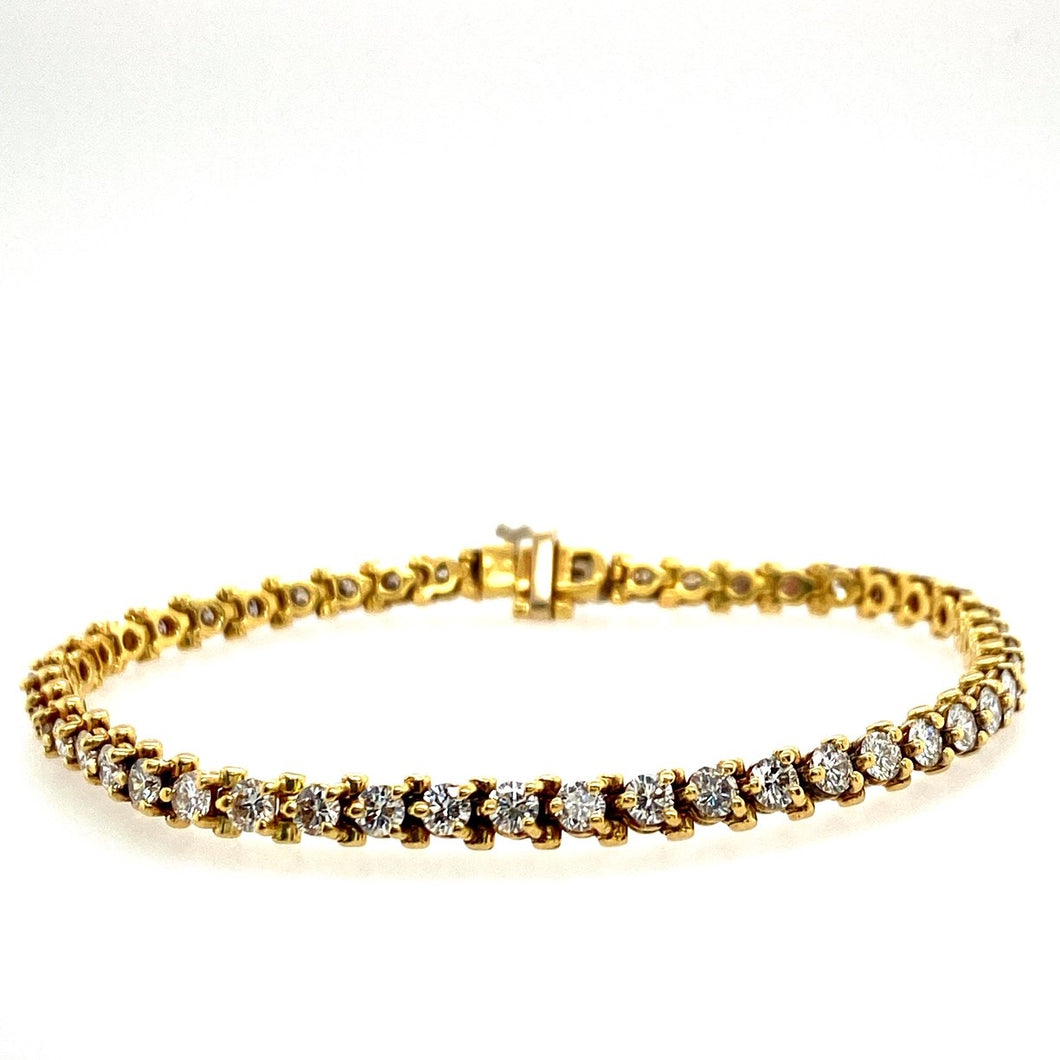 This Estate Bracelet Features Approximately 5.00 Carats of VS-2 G Color Round Brilliant-Cut Diamonds. The Bracelet also Features a Hidden Safety Clasp for Extra Security.  Total Length is 7