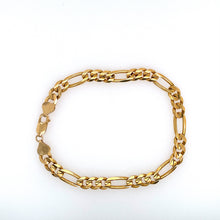 "Load image into Gallery viewer, This Men's 6.8mm Wide Figaro Bracelet is Secured with a Lobster Clasp.  Total Weight 17.6 Grams  Total Length 9 1/4""  14 Karat Yellow Gold"