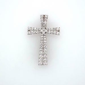 One of our Favorite Crosses, made with 18 Karat White Gold, and Features Two Rows of Graduated Round Diamonds with a Larger Round in the Center of the Cross. The Diamond Cross Features a Hidden Bail. Measures Approximately 32.0mm x 26.0mm  Total Diamond Weight 1.40 Carats  Total Weight 2.3 Grams