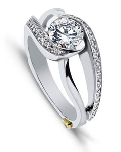 "14 Karat White Gold ""Cascade"" engagement ring designed by Mark Schneider, contains 39 diamonds totaling .195 Carat. The Center stone is sold separately and is not included in the price. Finger size is 6.5"
