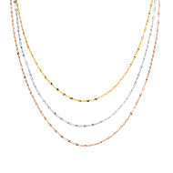 This classic three strand necklace features hammered mariner link chains in 14 karat yellow, white, and rose gold, in graduated lengths.   Can be worn at 16