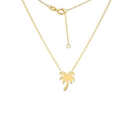 14 karat yellow gold palm tree mini necklace that can be worn at 16