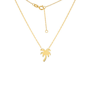 "14 karat yellow gold palm tree mini necklace that can be worn at 16"" or 18"""