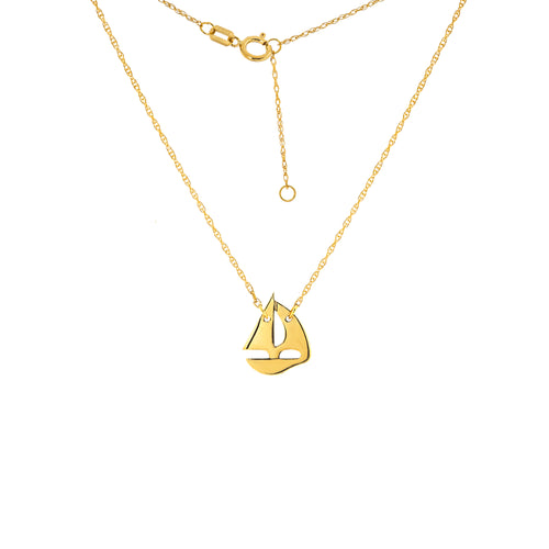14 karat yellow gold mini sailboat necklace.  the chain can be worn at 16