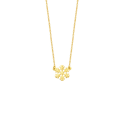 14 karat yellow gold mini snowflake necklace.  can be worn at 16
