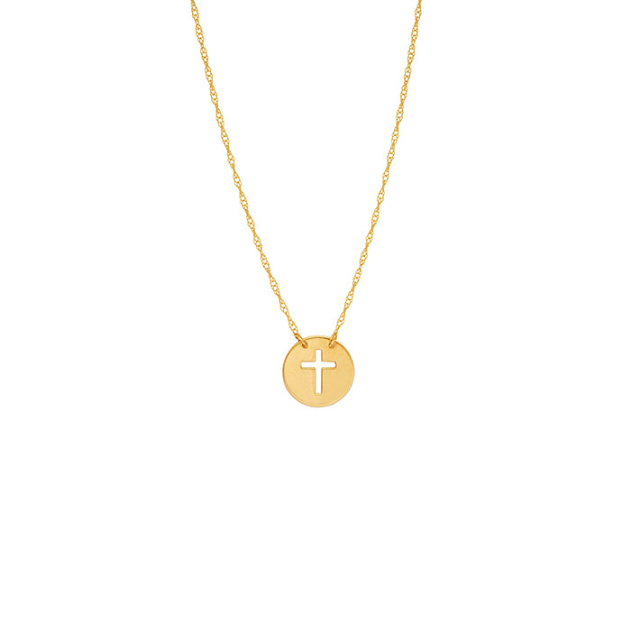 14 karat yellow gold cut-out mini cross necklace