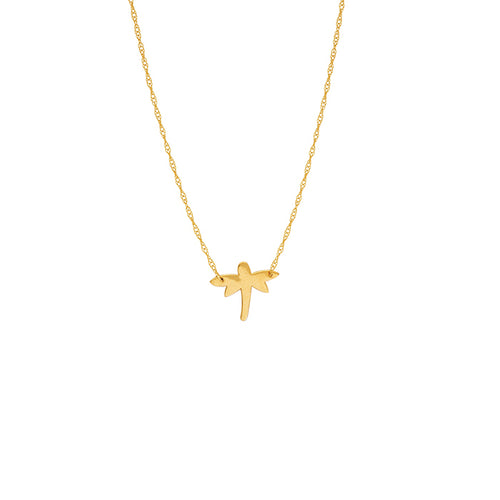 14 karat yellow gold dainty dragonfly mini necklace that can be worn at 16