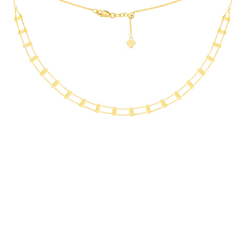 14 karat yellow gold railroad track choker necklace with an adjustable chain up to 16