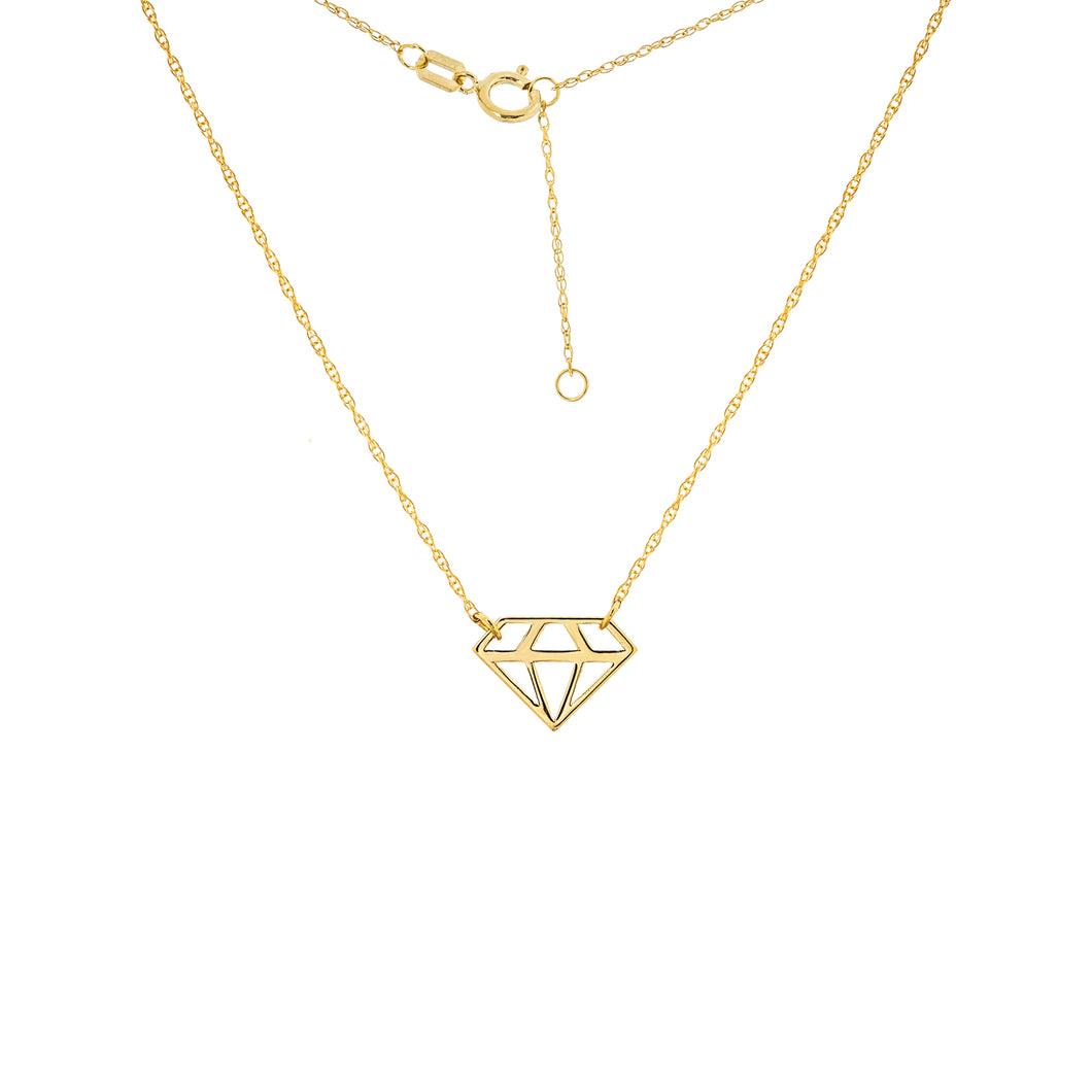14 karat yellow gold dainty necklace with a cut-out shape of a diamond