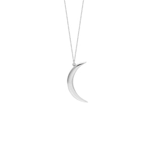 14 karat white gold crescent moon necklace