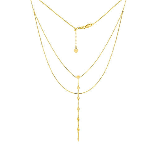 14 karat yellow gold double strand disc drop choker necklace with an adjustable chain to 17